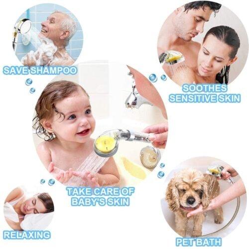 Cabezal de ducha con filtro de vitamina C, cabezal de ducha filtrado, suavizante de agua dura, filtro de cloro y fluoruro, sistema de ducha universal, ayuda a la piel seca y la pérdida de cabello